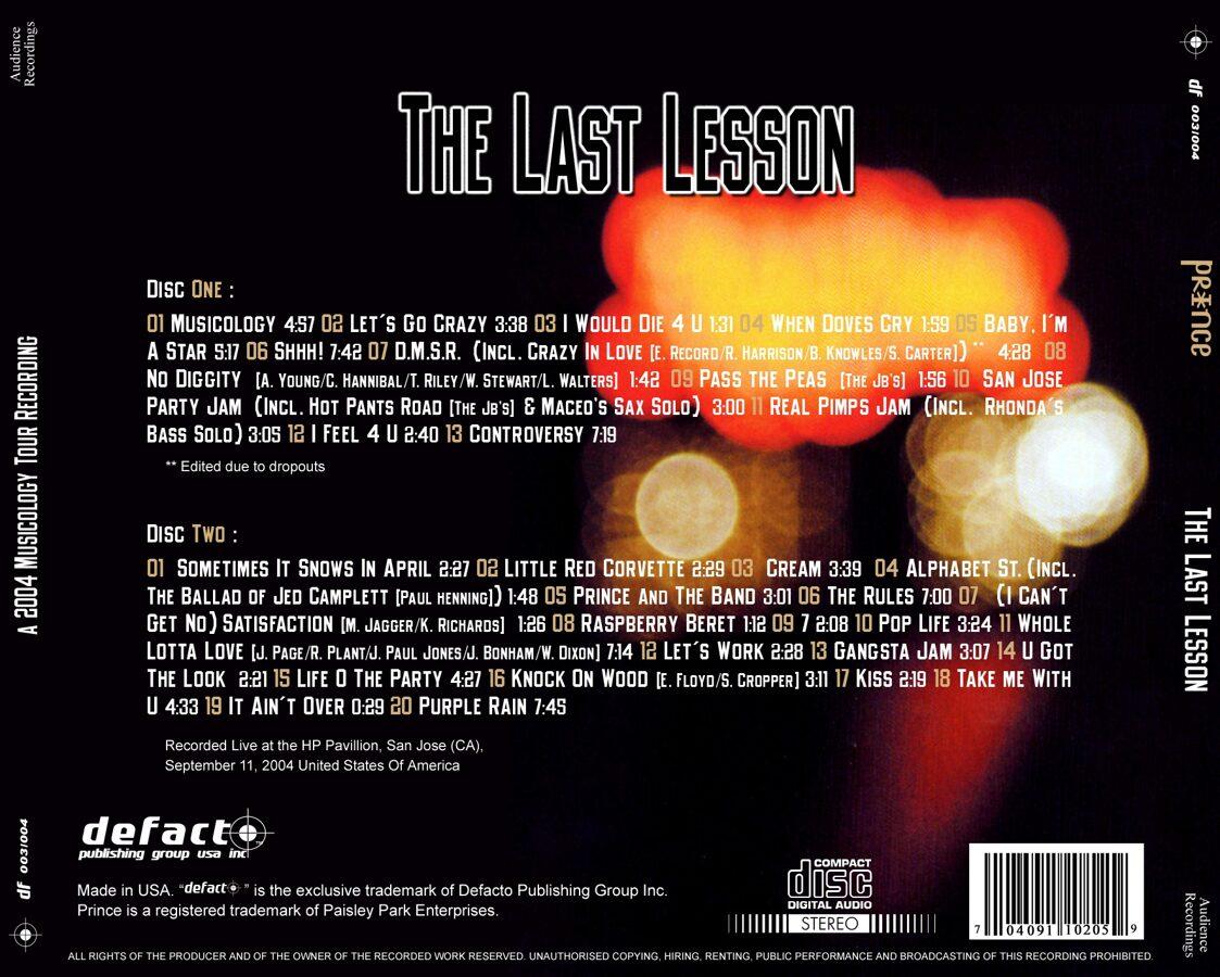 Prince - HP Pavilion, San Jose, CA (The Last Lesson) 2CD